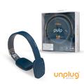 【Unplug法國工藝】Pulp觸控可折耳罩式藍芽4.0耳機-軍藍 (PULP-BLUE)