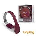 【Unplug法國工藝】Pulp觸控可折耳罩式藍芽4.0耳機-紫紅 (PULP-RED)