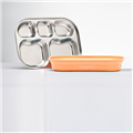 【Kangovou小袋鼠】不鏽鋼安全分隔餐盤-奶油橘 (K10-006-04)