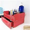 【ikloo宜酷屋】木質多功能抽屜式小物收納盒(桃紅色1入) (OAF03-1)