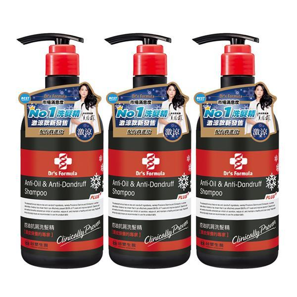 台塑生醫 Dr's Formula控油抗屑洗髮精升級版(激涼款)580g*3入 (80718835-78)