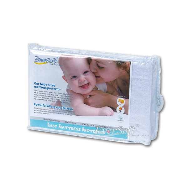 【Eversoft®寶貝墊】嬰兒床防水防螨透氣保潔墊-70x126x10cm (B00007)