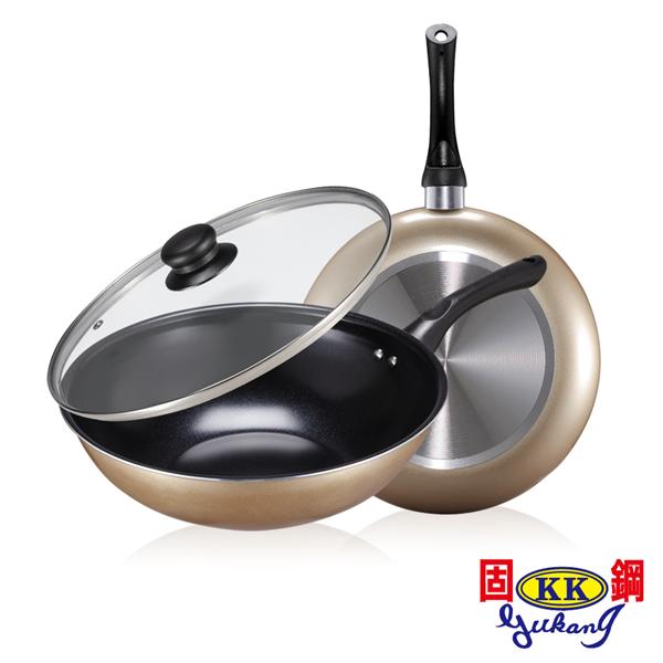 新春特惠↘ 固鋼 黃金陶瓷不沾鍋具雙鍋4件組(28cm+28cm) (BAA-WF-JK-2)