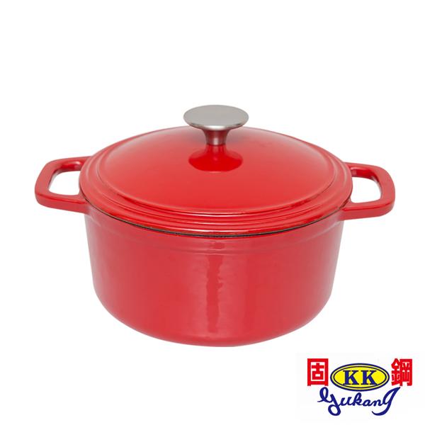 【固鋼】高質感瑰麗紅圓形琺瑯鑄鐵鍋22cm(可用電磁爐) (BAI-C22RI)