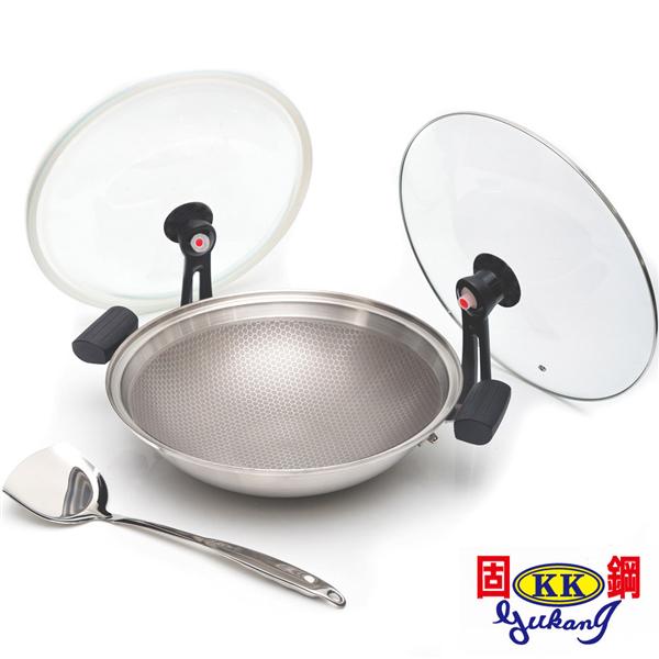 【固鋼】專利節能雙蓋氣密不鏽鋼不沾鍋32cm(可關火再煮) (BAM-F32ZS)