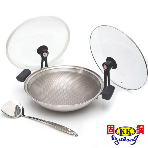 【固鋼】專利節能雙蓋氣密不鏽鋼不沾鍋36cm(可關火再煮) (BAM-W36ZS)