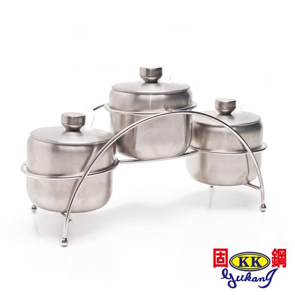 【固鋼】304不鏽鋼鹽罐調味罐300ML(三件組) (BBS-001)