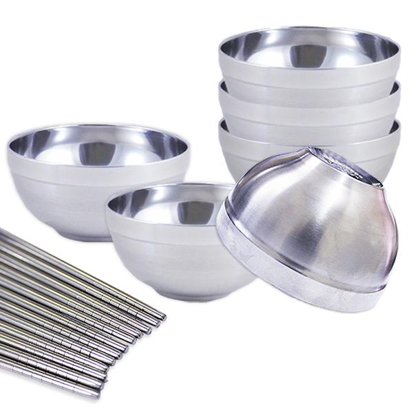 【304嚴選】不鏽鋼碗筷組(12cm隔熱碗6個+筷子6雙) (BSS11265)