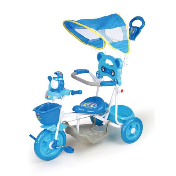 【寶貝樂精選】遮陽棚俏皮企鵝音樂三輪車-藍色 (BTXG304B)
