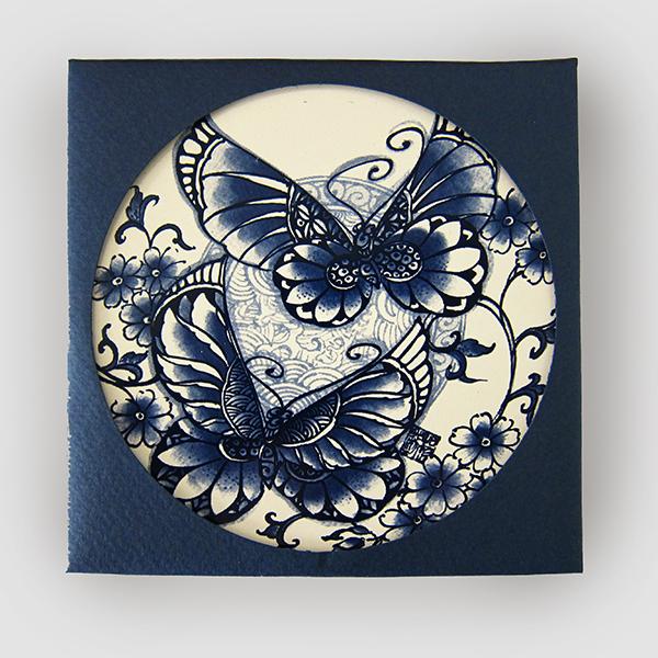 【設計點】楊莉莉青花-青花吸水杯墊-比翼雙飛 (E01700401)