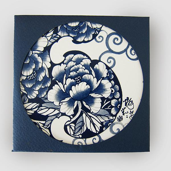 聖誕交換禮物【設計點】楊莉莉青花-青花吸水杯墊-富貴如意 (E01700404)