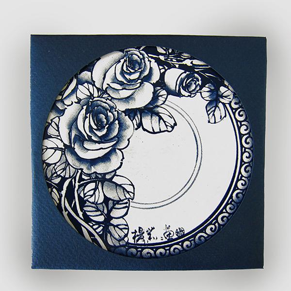 聖誕交換禮物【設計點】楊莉莉青花-青花吸水杯墊-玫瑰花語 (E01700406)
