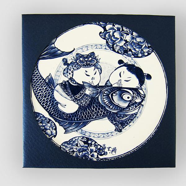聖誕交換禮物【設計點】楊莉莉青花-青花吸水杯墊-富貴有魚 (E01700407)