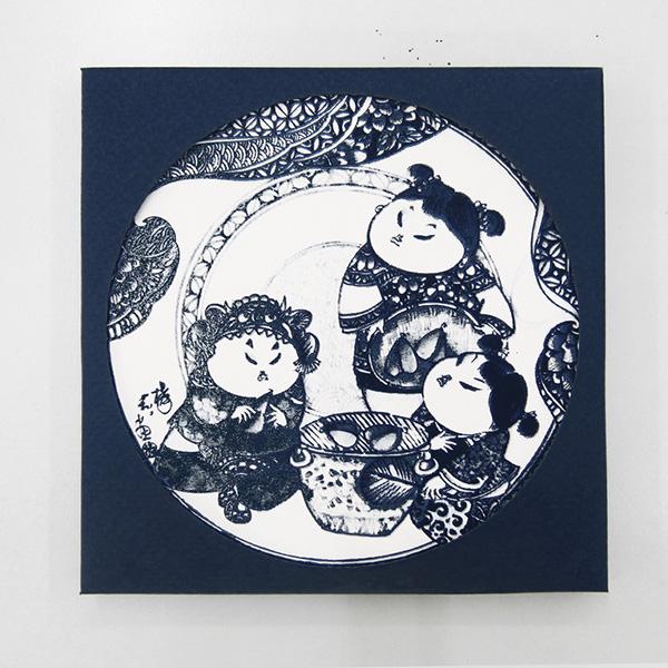 【設計點】楊莉莉青花-青花吸水杯墊-歡喜團聚 (E01700408)