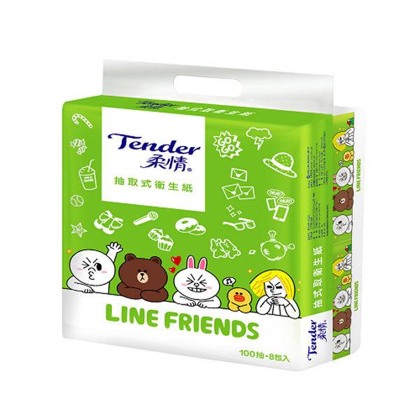 【柔情】抽取衛生紙(LINE FRIENDS授權版)100抽×8包×6串/箱 (ECC000273)