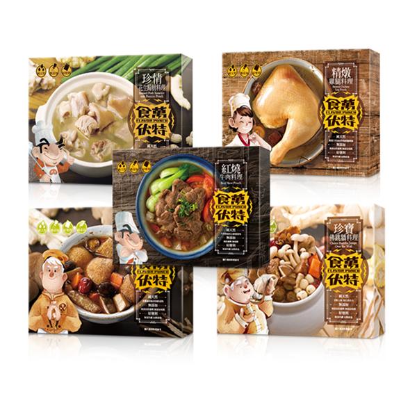 【食萬伏特】全家福調理包組(牛肉調理包1盒、花生蹄膀調理包1盒、精燉雞腿調理包1盒、珍寶佛跳牆調理包1盒、麻油珍菇調理包1盒) (ECC000316)