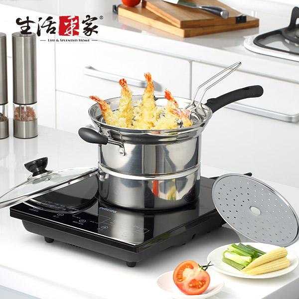 【生活采家】Debo系列不鏽鋼22cm蒸煮湯炸全能料理鍋 (F05017007)