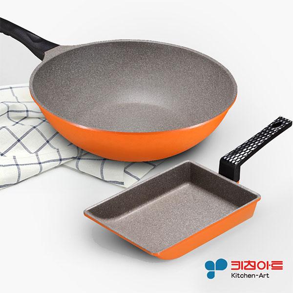 【韓國 Kitchen Art】亮麗橘鈦晶石雙鍋組(炒鍋32cm+玉子燒鍋19cm) (HAE-W32OM-E19OM)