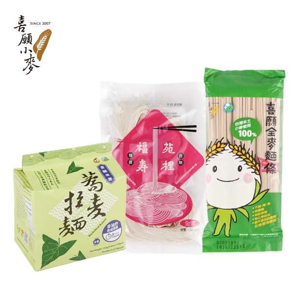 【喜願】全麥麵條x4包入+東豐蕎麥拉麵x2袋入+苑裡福壽麵線x2包入 (HF-16D0007-11)