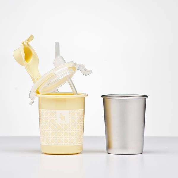 【Kangovou小袋鼠】不鏽鋼安全兒童兩用杯-檸檬黃 (K10-002-03)