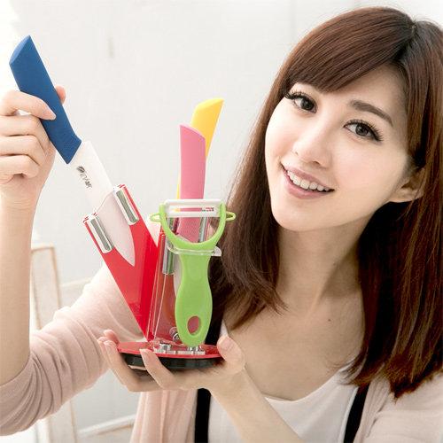 【JoyLife】絢彩輕巧陶瓷刀具刀架5件組 (MF0225)