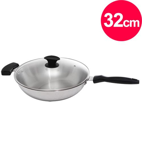 【清水】鋼鋼好原味炒鍋玻璃蓋32cm(單把) (MF0319A)