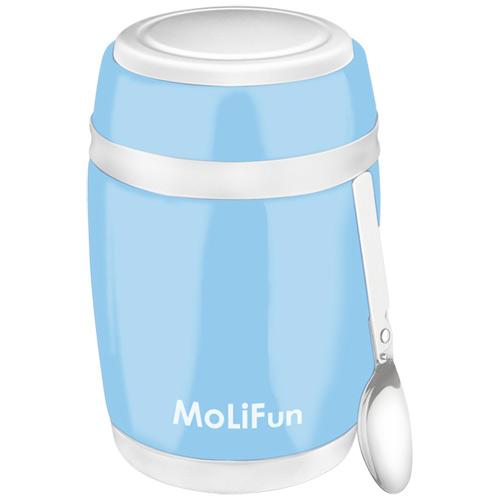 【德國MoliFun魔力坊】不鏽鋼真空保鮮保溫燜燒食物罐-480ml(天晴藍) (MF0320B)