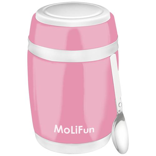 【德國MoliFun魔力坊】不鏽鋼真空保鮮保溫燜燒食物罐-480ml(櫻花粉) (MF0320P)