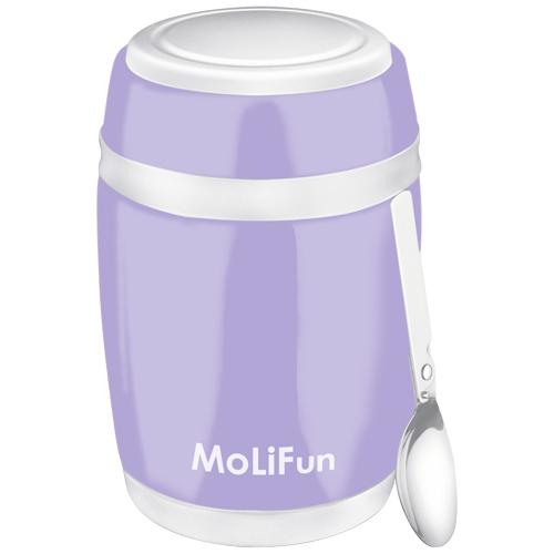 【德國MoliFun魔力坊】不鏽鋼真空保鮮保溫燜燒食物罐-480ml(微薰紫) (MF0320V)