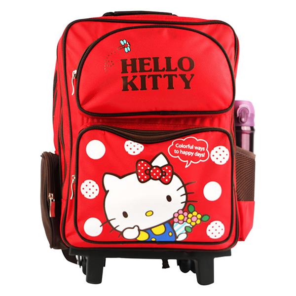 【Hello Kitty】雙層三段式拉桿後背書包-紅色 (ML0247)