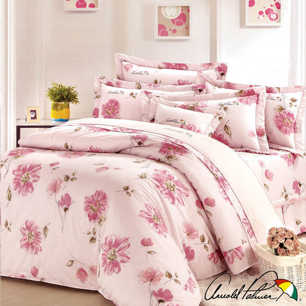 【Arnold Palmer雨傘牌】愛戀紅妍-40紗精梳純棉床罩雙人七件組 (P042666690361)
