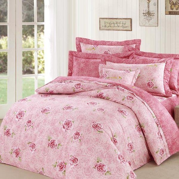 【Arnold Palmer雨傘牌】玫瑰濃情-60紗精梳純棉床罩雙人七件組 (P042684857910)