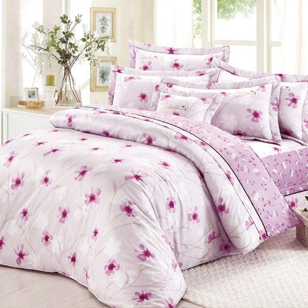 【Arnold Palmer雨傘牌】紫光花曲-40紗精梳純棉床罩雙人七件組 (P042684875698)