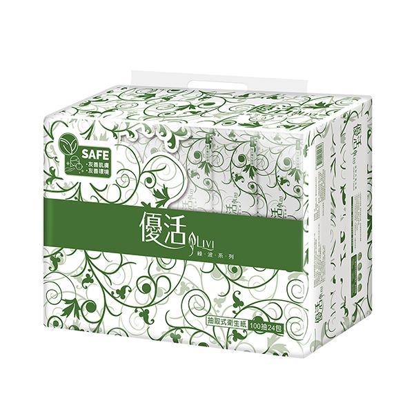 Livi 優活 抽取式衛生紙100抽24包4袋/箱 (T1H0L-A1)