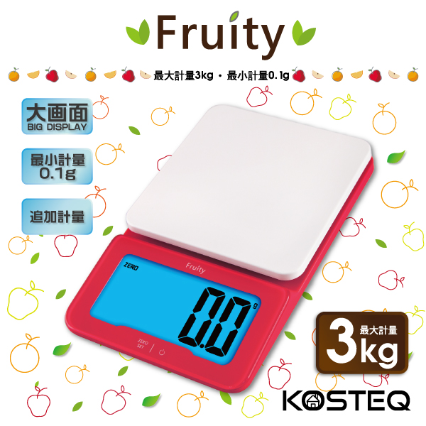 KOSTEQ Fruity微量廚房料理電子秤-紅色(3kg) (TKS-334RD)